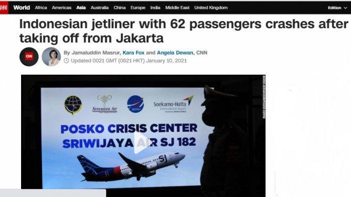 Media Asing Ikut Soroti Pesawat Sriwijaya Air yang Jatuh